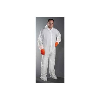 Keystone Safety CVL-NW-B-MD - Polypropylene Coverall/Bunnysuit W/attached Hood & Boots - Zipper Front - Elastic Wrists - Cleanroom Class 7 - Medium - White - 25/Case