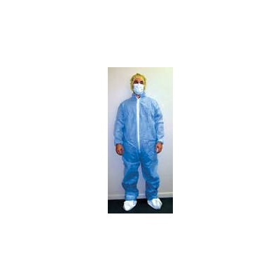 Keystone Safety CVL-NW-E-LG - Polypropylene Coverall - Zipper Front - Elastic Wrists & Ankles - Cleanroom Class 7 - Large - White - 25/Case