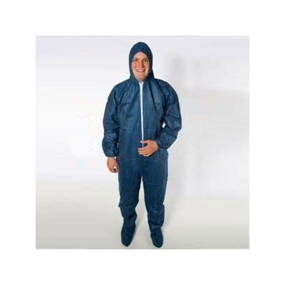 Keystone Safety CVL-NW-HD-B-BLUE-2XL - Heavy-Duty Polypropylene Coverall/Bunnysuit w/Attached Hood & Boots - Zipper Front - Elastic Wrists - 2X-Large - Blue - 25/Case