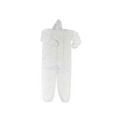 Keystone Safety CVL-NW-HE-LG - Polypropylene Coverall W/Attached Hood - Zipper Front - Elastic Wrists & Ankles - Cleanroom Class 7 - Large - White - 25/Case