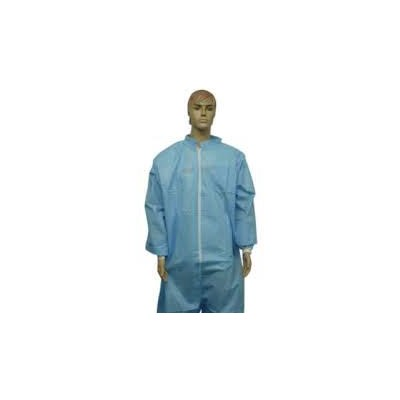 Keystone Safety CVL-SMS-E-BLUE-MD - Heavy-Duty SMS Coverall - Zipper Front - Elastic Wrists & Ankles - Cleanroom Class 7 - Medium - Blue - 25/Case