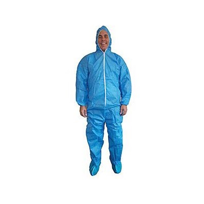 Keystone Safety CVLSMSREG-B-BLUE-4XL - SMS Coverall/Bunnysuit w/Attached Hood & Boots - Zipper Front - Elastic Wrists - Cleanroom Class 7 - 4X-Large - Blue - 25/Case