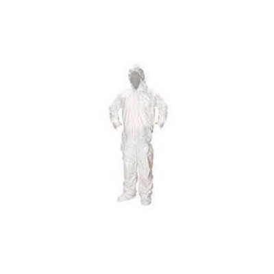 Keystone Safety CVLSMSREG-B-LG - SMS Coverall/Bunnysuit w/Attached Hood & Boots - Zipper Front - Elastic Wrists - Cleanroom Class 7 - Large - White - 25/Case
