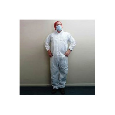 Keystone Safety CVLSMSREG-E-XL - SMS Coverall - Zipper Front - Elastic Wrists & Ankles - Cleanroom Class 7 - X-Large - White - 25/Case