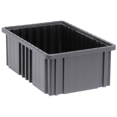 "Quantum Storage Systems DG92060CO - Dividable Grid Tote Box - Conductive - I.D. 14.875"" L x 9.25"" W x 5.5"" H - Black - 8/Carton"