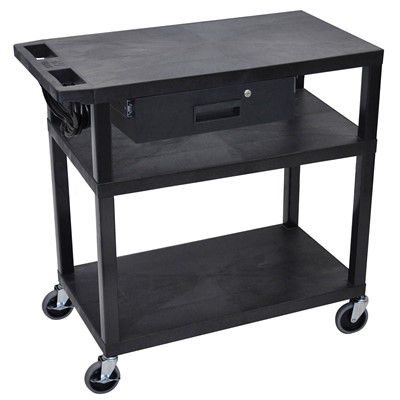 "Luxor/H Wilson EA34DE-B - Presentation Cart w/3 Shelves & Drawer - 18"" x 32"" x 34"" - Black"