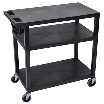"Luxor/H Wilson EA34E-B - Presentation Cart w/3 Shelves - 18"" x 32"" x 34"" - Black"