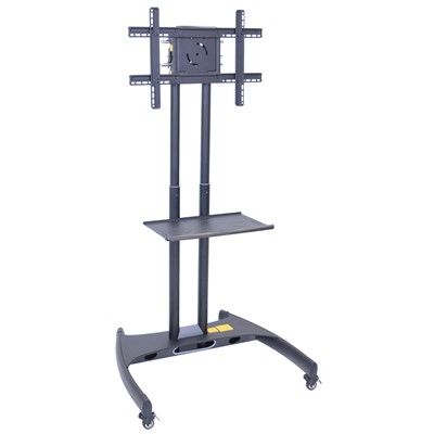 "Luxor/H Wilson FP2500 - Adjustable Height LCD TV Stand & Mount w/Shelf - 28"" x 32"" x 46""-62"" - Black"