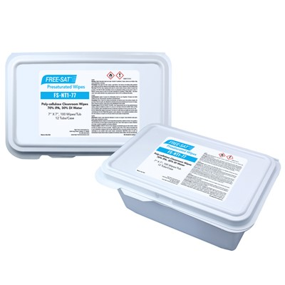 "High-Tech FS-NT1-77 - FREE-SAT Poly-Cellulose Presaturated Wipes - 70% IPA / 30% DI Water - 7"" x 7"" - 100 Wipes/Tub"