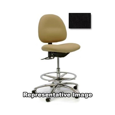 "Gibo/Kodama CE3300AT-V902-07B - Stamina 3000 Series Class 100 Cleanroom/ESD-Safe Mid-Bench Height Chair - Autonomous Control - 22""-29"" - Conductive Vinyl - Black"