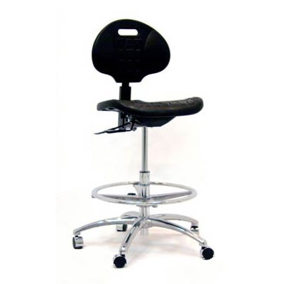 Gibo/Kodama P3500AT-02-BLK - Stamina 3000 Production Bench-Height Chair - Polyurethane - Black