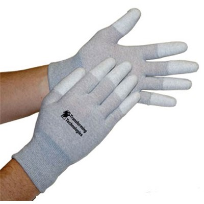 "Transforming Technologies GL4500 Series Fingertip Coated ESD Inspection Gloves - 8"" - 12/Pack"