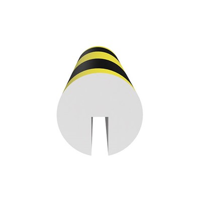 "Ergomat HCIB120 - Half Circle I-Beam Protector - 48"" Long - Black/Yellow Surface on White Expanded Foam Pad"