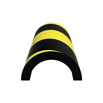 "Ergomat HCPB100-BK - Half-Circle Pipe Bumper - 40"" Long - Black/Yellow"
