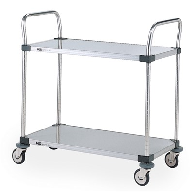 "InterMetro Industries (Metro) MW108 - MW Series Standard-Duty Utility Cart - Stainless Steel Solid Shelves - 24"" x 36"""