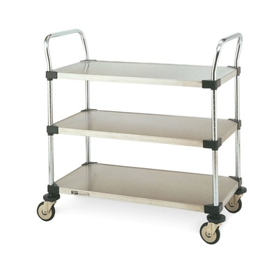 "InterMetro Industries (Metro) MW203 - MW Series Standard-Duty Utility Cart - 3 Stainless Steel Solid Shelves - 18"" x 24"""