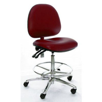 Industrial Seating AE10-ST-VCON-461 - 10 Series Bench-Height Conductive Chair - Vinyl - Burgundy