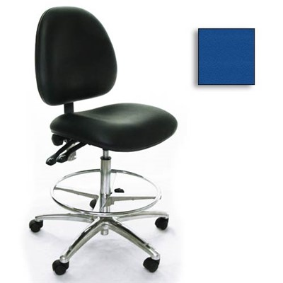 Industrial Seating AE10-ST-VCR-211 - 10 Series Bench-Height Clean Room Chair - Vinyl - Blue