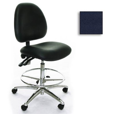 Industrial Seating AE10-ST-VCR-221 - 10 Series Bench-Height Clean Room Chair - Vinyl - Navy