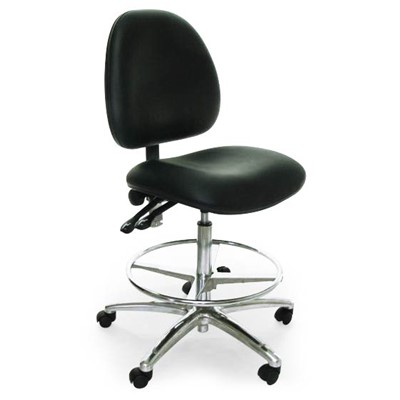 Industrial Seating AE10-ST-VCR-251 - 10 Series Bench-Height Clean Room Chair - Vinyl - Black