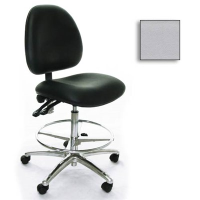 Industrial Seating AE10-ST-VCR-231 - 10 Series Bench-Height Clean Room Chair - Vinyl - Light Gray