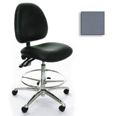 Industrial Seating AE10-ST-VCR-232 - 10 Series Bench-Height Clean Room Chair - Vinyl - Medium Gray