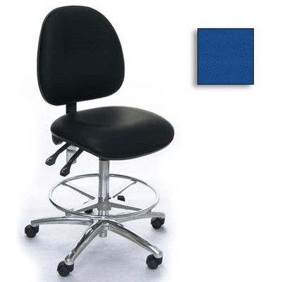 Industrial Seating AE20M-ST-VCR-211 - 20M Series Bench-Height Clean Room Chair - Vinyl - Blue