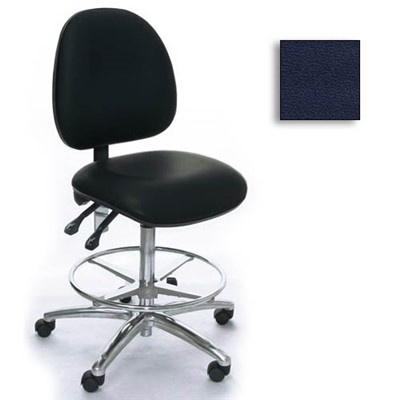 Industrial Seating AE20M-ST-VCR-221 - 20M Series Bench-Height Clean Room Chair - Vinyl - Navy
