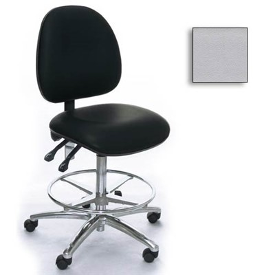 Industrial Seating AE20M-ST-VCR-231 - 20M Series Bench-Height Clean Room Chair - Vinyl - Light Gray