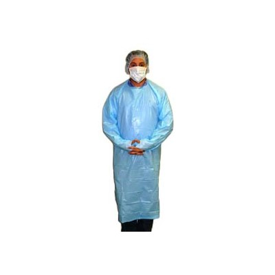 "Keystone Safety ISO-TL-55-BLUE - Light-Weight Polyethylene Isolation Gown - Rear Entry w/Attached Ties & Thumb Loop - Cleanroom Class 6 - 55"" - Blue - 100/Case"