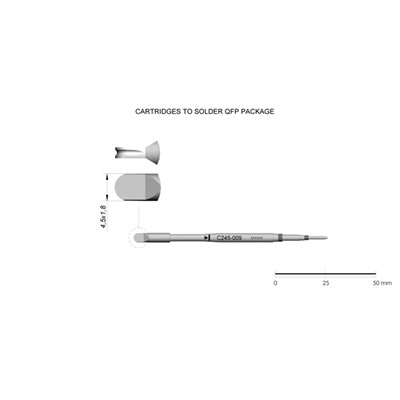 JBC Tools C245-009 - C245 Series Cartridge - Minispoon QFP - 4.5 mm x 1.8 mm
