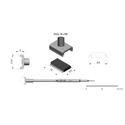 JBC Tools C245-304 - C245 Series Cartridge - DIL/SO - 9.6 mm x 15.0 mm