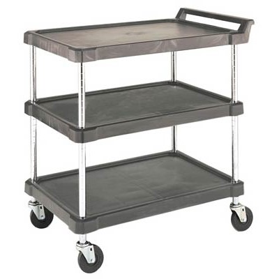 "Olympic Storage Co. J16UC3 - Utility Cart w/3 Gray Polyethylene Shelves & Casters - 28"" x 18"""