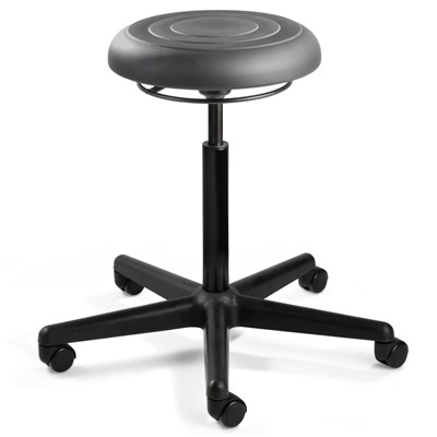 "Bevco J3000-GR - ErgoLux Soft Poly Jr J3000 Series Backless Stool - 5-Star Black Nylon Base - 16.25""-21.25"" - Dual-Wheel Hard Floor Casters - Graphite"