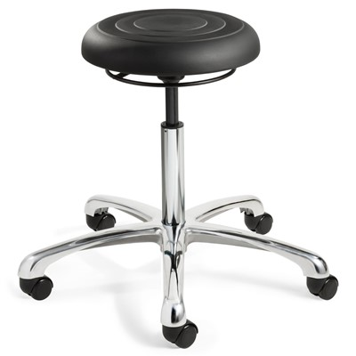 "Bevco J3350-BK - ErgoLux Soft Poly Jr J3000 Series Backless Stool - 5-Star Polished Aluminum Base - 20""-27"" - Dual-Wheel Hard Floor Casters - Black"