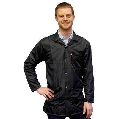 Transforming Technologies 9010 Series ESD Lab Jackets - Collared - Snap Cuff - Black