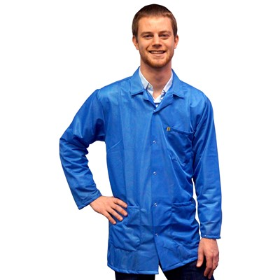 Transforming Technologies JKC 9021SPLB - 9010 Series ESD Lab Jacket - Collared - Snap Cuff - Light Blue - X-Small