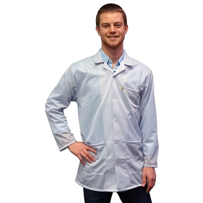 Transforming Technologies JKC 9021SPWH - 9010 Series ESD Lab Jacket - Collared - Snap Cuff - White - X-Small