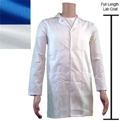 Transforming Technologies JLC5402SPWH - Full Length ESD Jacket - Lapel Collar - Snap Cuff - Small - White