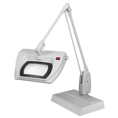 "Dazor L1570-5-DG - Stretchview Series LED Magnifier - 5-Diopter - 33"" Reach - Classic Arm - Desk Base - Daylight Light Color - Dove Gray"