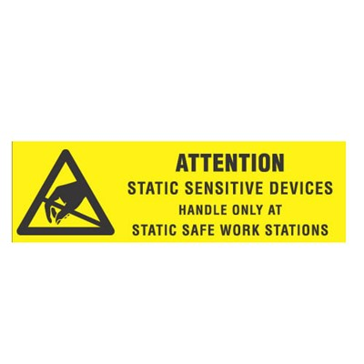 "Transforming Technologies LB9010 - Static Warning Labels - ""Attention Static Sensitive Devices Handle Only At Static Safe Work Stations"" - 5/8"" x 2"""