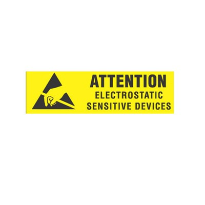 "Transforming Technologies LB9020 - Static Warning Labels - ""Attention Electrostatic Sensitive Devices"" - 3/8"" x 1.25"""