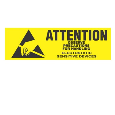"Transforming Technologies LB9030 - Static Warning Labels ""Attention Observe Precautions For Handling Electrostatic Devices"" - 5/8"" x 2"""