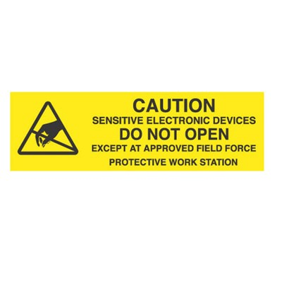"Transforming Technologies LB9040 - Static Warning Labels - ""Caution Sensitive Electronic Devices Do ... Field Force Protective Work Station"" - 5/8"" x 2"""
