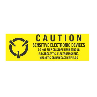 "Transforming Technologies LB9050 - Static Warning Labels - ""Caution Sensitive Electronic Devices ... Electrostatic - Electromagnetic - Magnetic - Fields"" - 5/8"" x 2"""