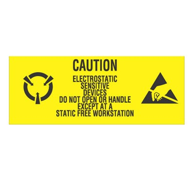 "Transforming Technologies LB9060 - Static Warning Labels - ""Electrostatic Sensitive Devices Do Not Open Or Handle Except At A Static Free Workstation"" - 1"" x 2.5"""