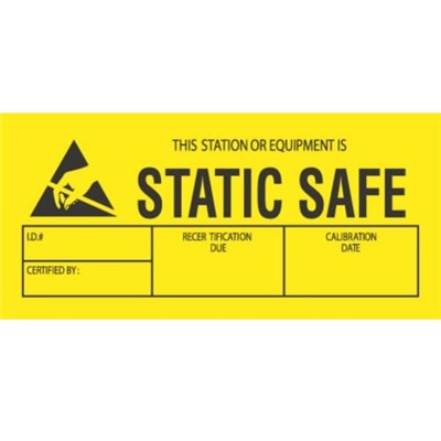 "Transforming Technologies LB9070 - Static Warning Labels - ""This Station Or Equipment Is Static Safe"" - 1.75"" x 3"""