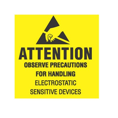 "Transforming Technologies LB9080 - Static Warning Labels - ""Attention Observe Precautions For Handling Electrostatic Sensitive Devices"" - 2"" x 2"""