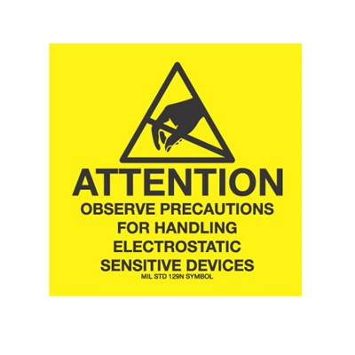 "Transforming Technologies LB9085 - Removable Static Warning Labels - ""Attention Observe Precautions For Handling Electrostatic Sensitive Devices"" - 4"" x 4"""