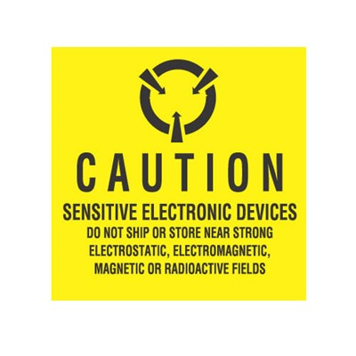 "Transforming Technologies LB9100 - Static Warning Labels - ""Caution Sensitive Electronic ...Electrostatic - Electromagnetic - Magnetic Or Radioactive Fields"" - 4"" x 4"""